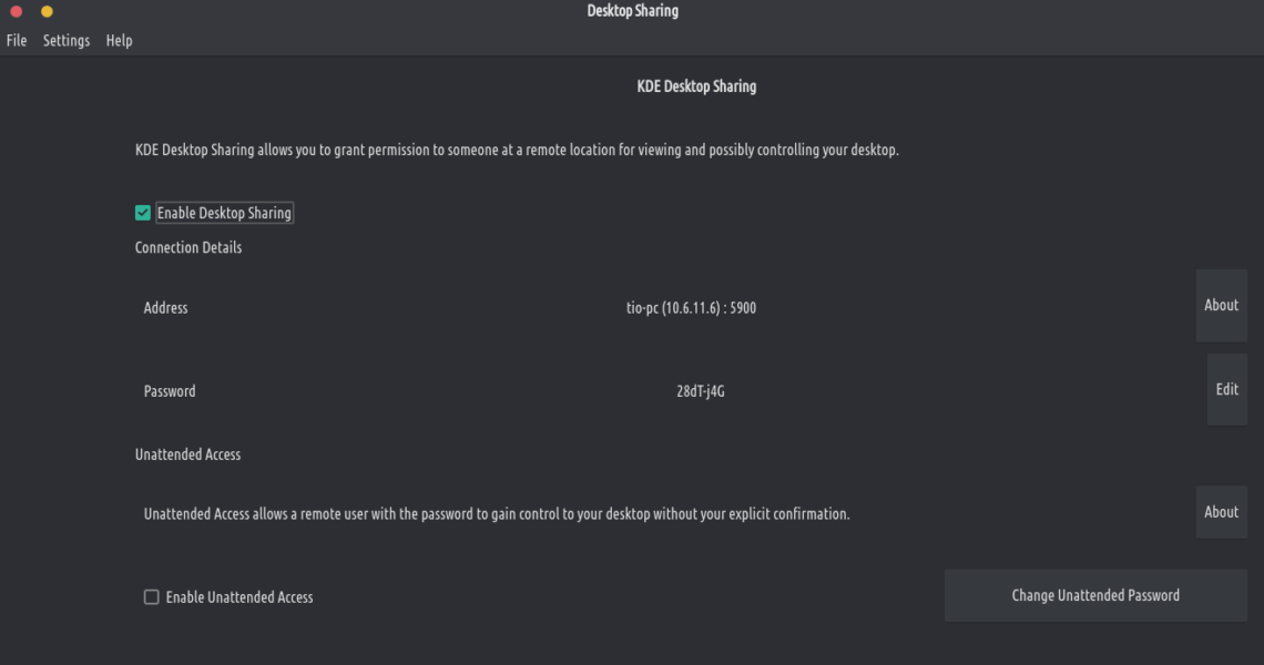 Krfb Desktop Sharing